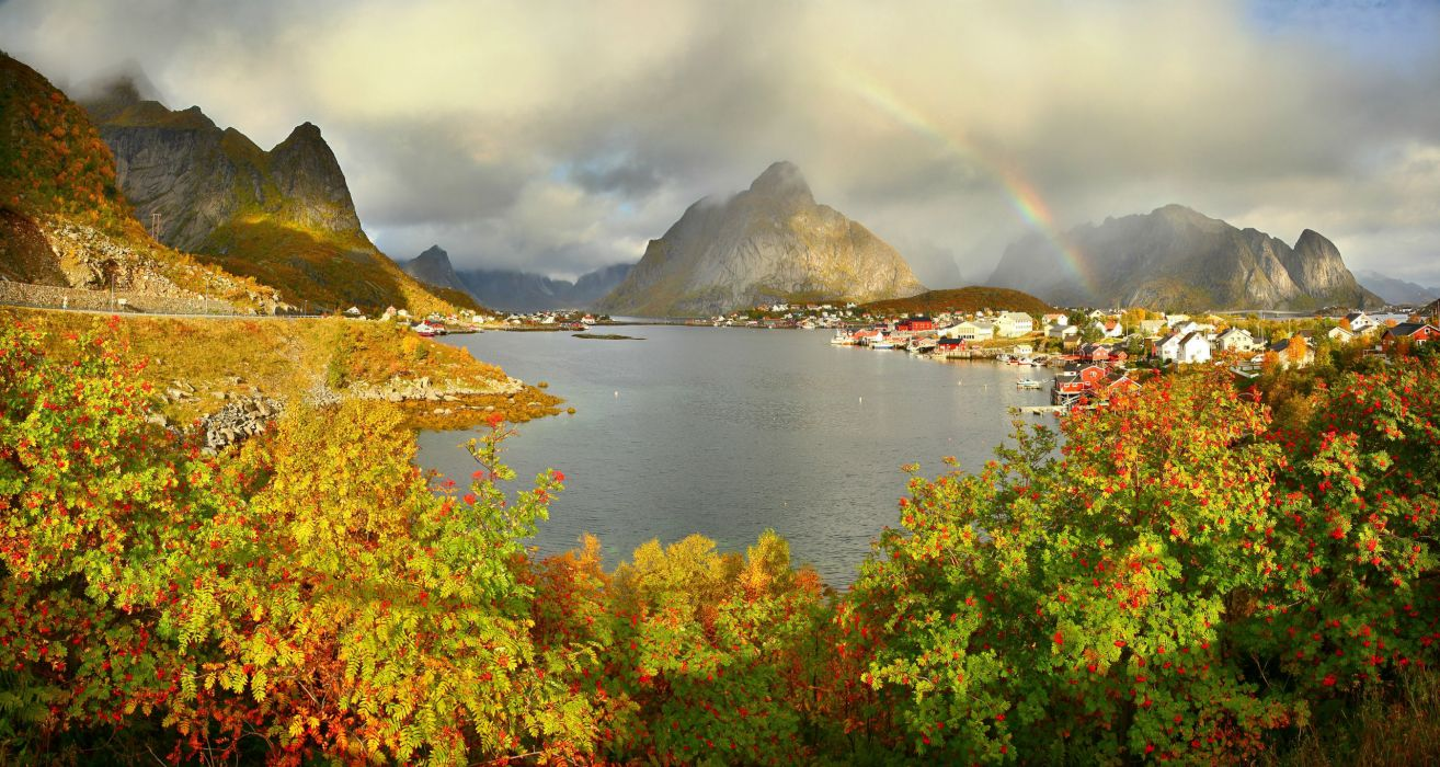Mountains Norway Rivers Reine Gravdalsbukta Clouds Rainbow Shrubs landscapes cities world wallpaper