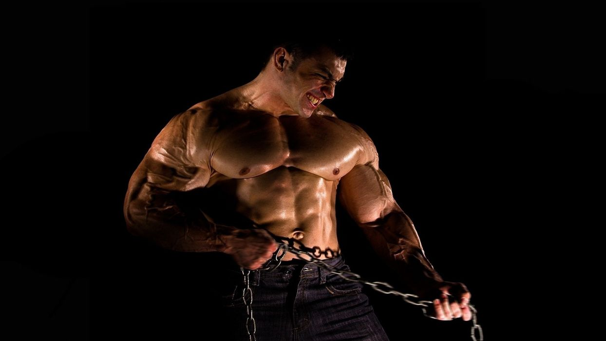 BODYBUILDER sports chain fitness muscle men males sexy handsome hunk wallpaper