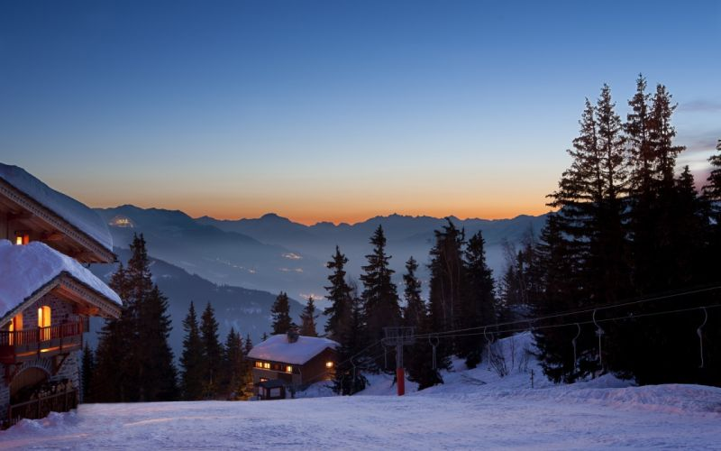 landscapes nature winter snow resort mountains trees sunset sunrise sky buildings cabin house wallpaper