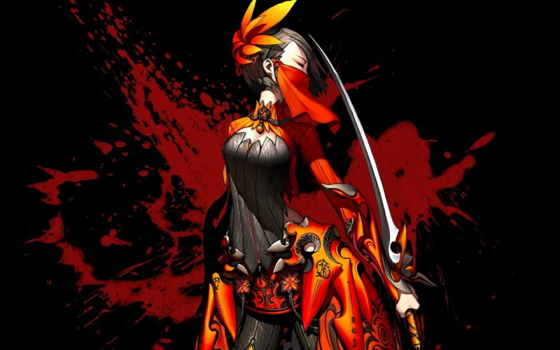 BLADE AND SOUL video games anime fantasy art warriors women asian oriental weapons swords blood dark horror katana sexy babes women girl mask wallpaper