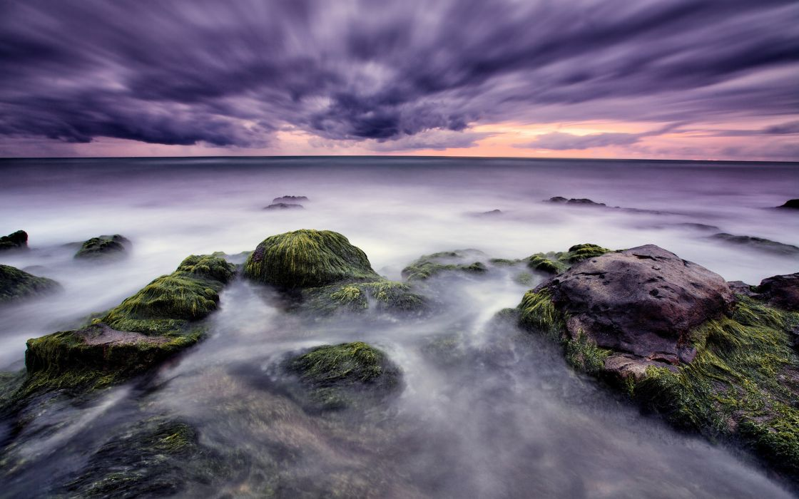 hdr timelapse beaches coast shore ocean sea sky clouds sunset sunrise wallpaper