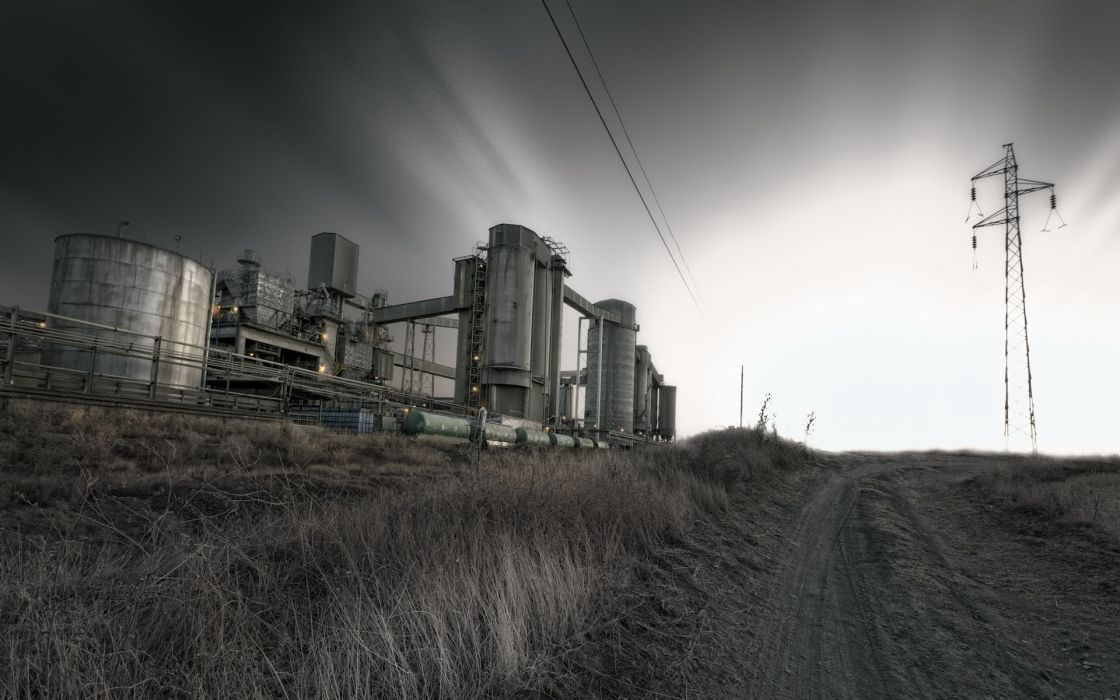 factory refinery silo landscapes nature roads rustic steel sky clouds lines tower wallpaper