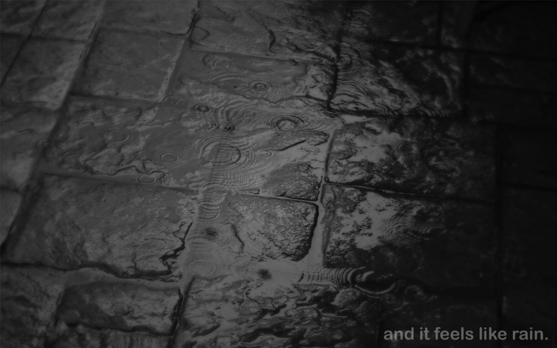 bokeh mood storm rain drops wet sidewalk cobblestone dark black white wallpaper