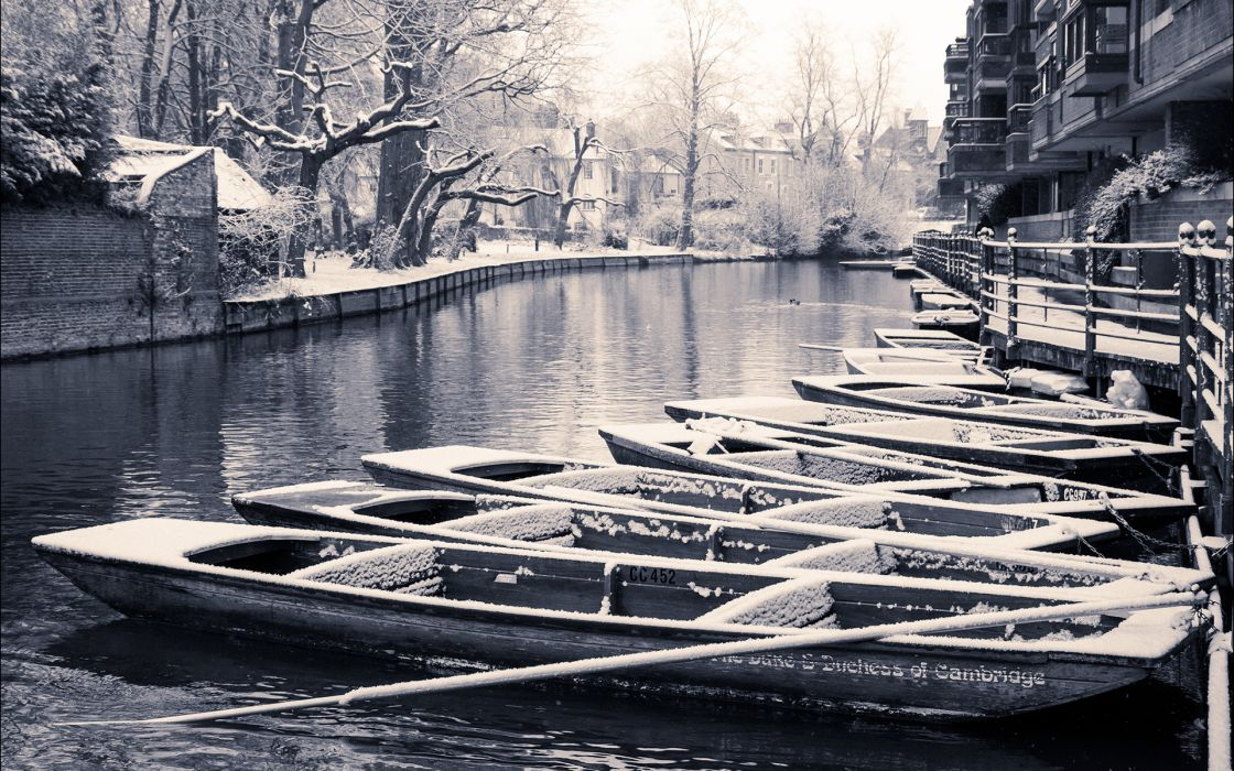 Canal River BW Boats Winter Snow Trees black white monochrome rivers streams cities snow wallpaper
