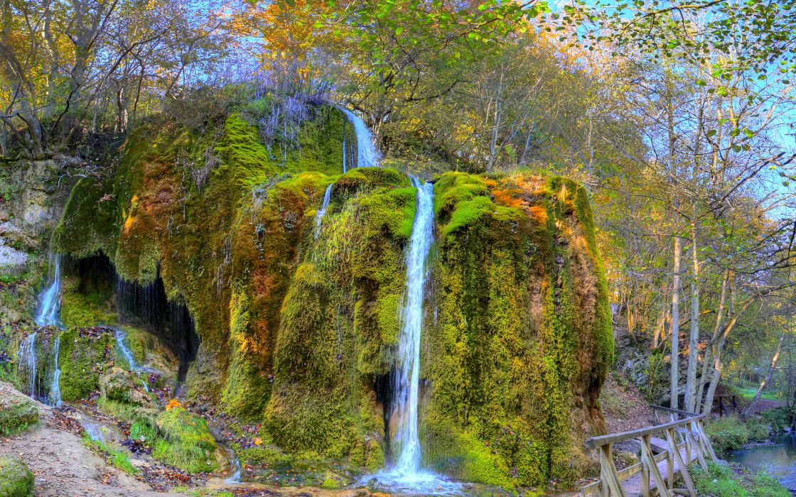 hdr landscapes rivers streams cliff hill moss spray trees forest autumn fall leaves wallpaper