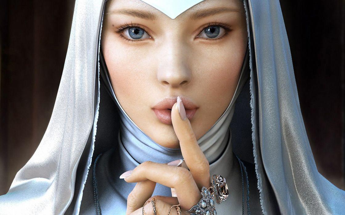 yujin Kim jin777 nun religion catholic fantasy art women babes face mood eyes pov beautiful finger gesture jewelry costume wallpaper