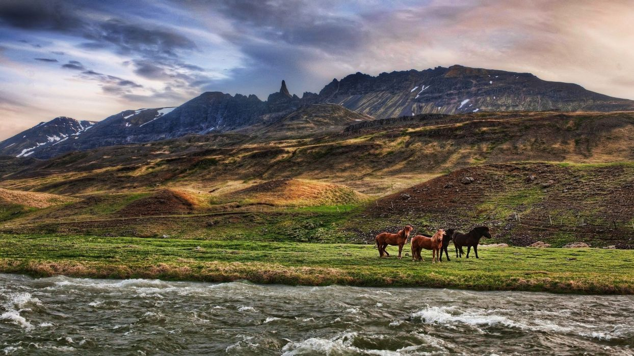 hdr nature landscapes mountains sky clouds rivers wallpaper