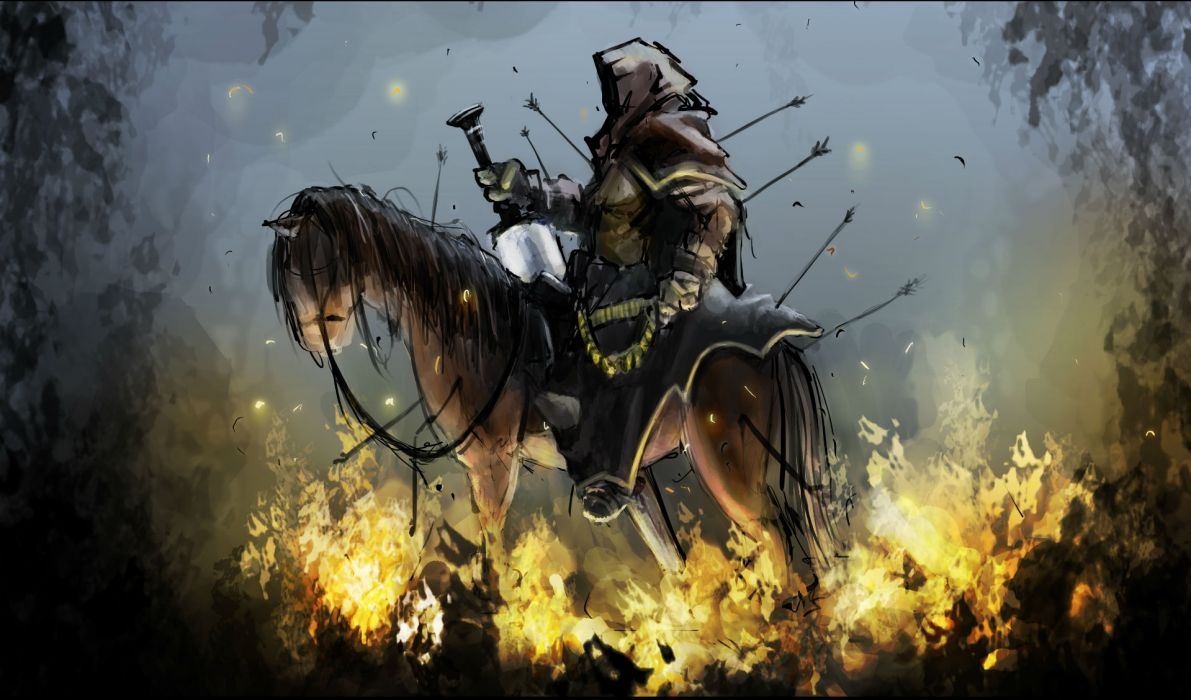 Second Horseman of the Apocalypse religion revelations bible dark horror fantasy art reaper weapons sword horse fire wallpaper