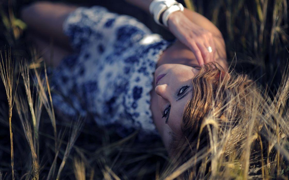 mood women model redhead face eyes wallpaper