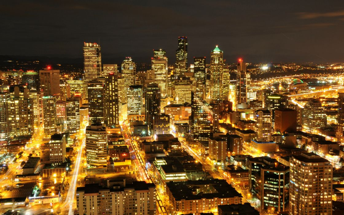 Seattle Washington usa america hdr night skyline cityscapes architecture buildings skyscrapers lights wallpaper
