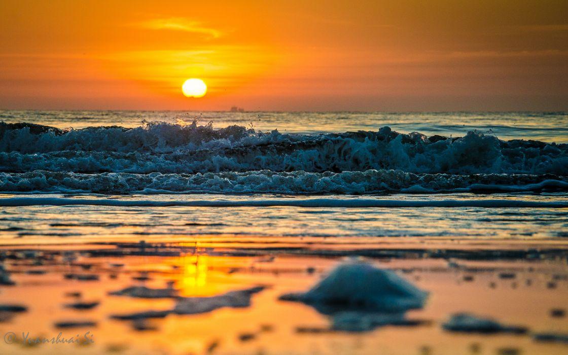 beaches shore coast ocean sea waves splash spray sunset sunrise sky wallpaper