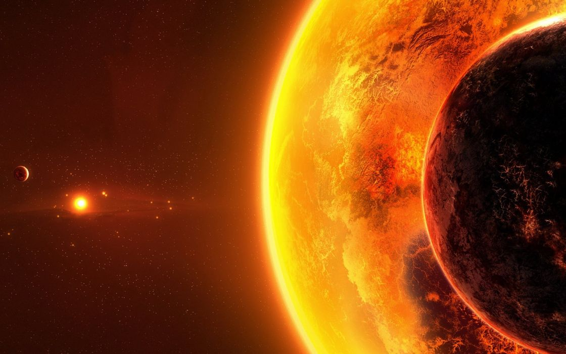 sci fi science outer space universe planets sun atmosphere stars cg digital art wallpaper