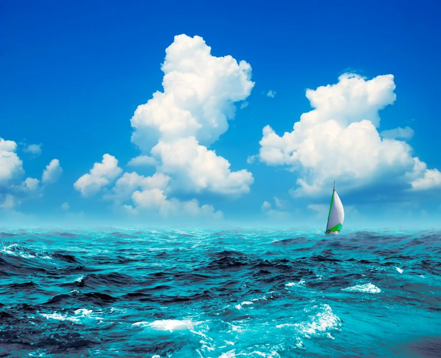 boats sports sailing sailboat ocean sea sky clouds summer wallpaper