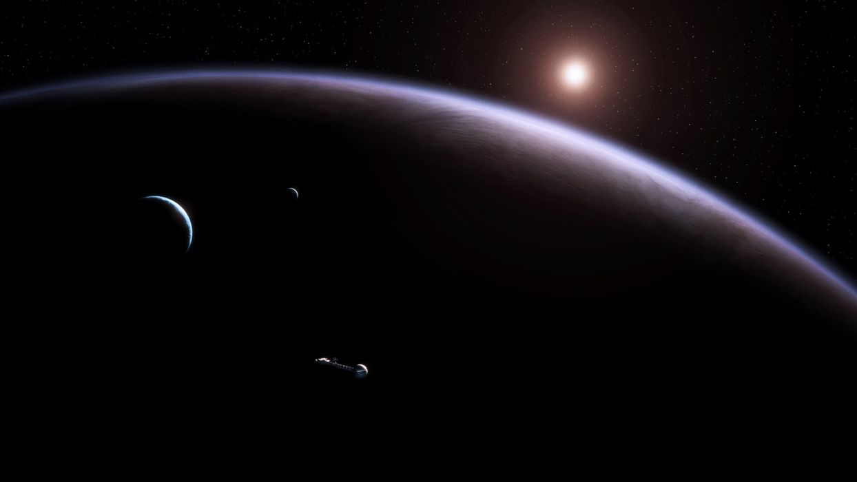 sci fi science cg digital art outer space universe atmosphere planets moon stars spacecraft spaceships sun wallpaper