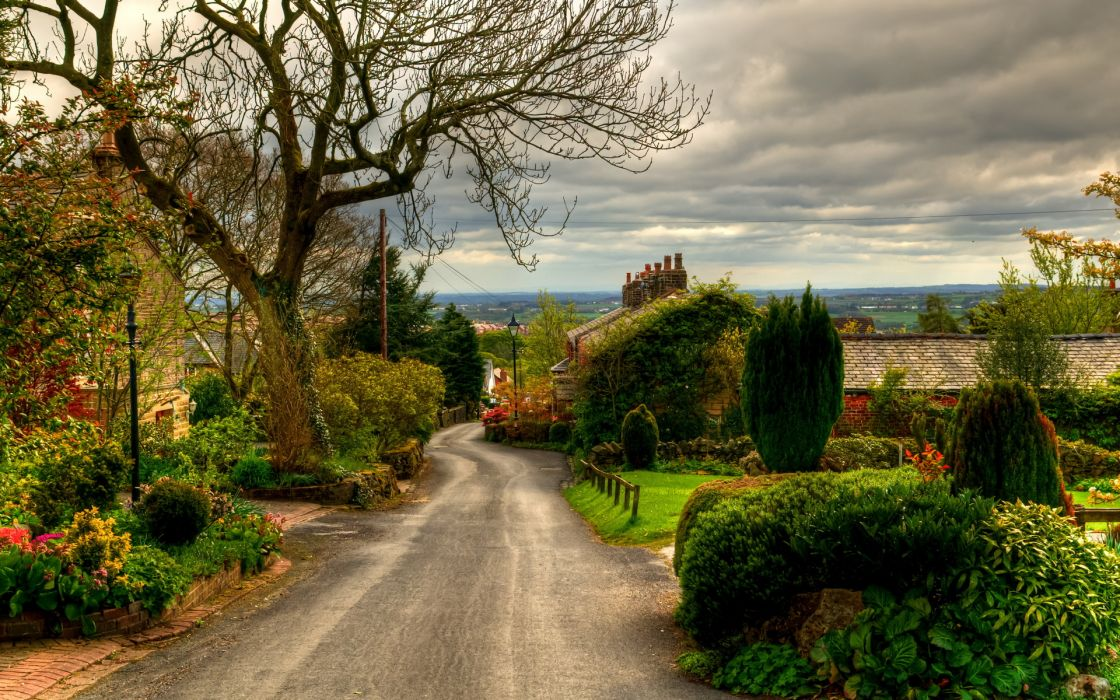UK Road England Horwich Trees Shrubs nature landscapes town village buildings houses architecture sky clouds wallpaper