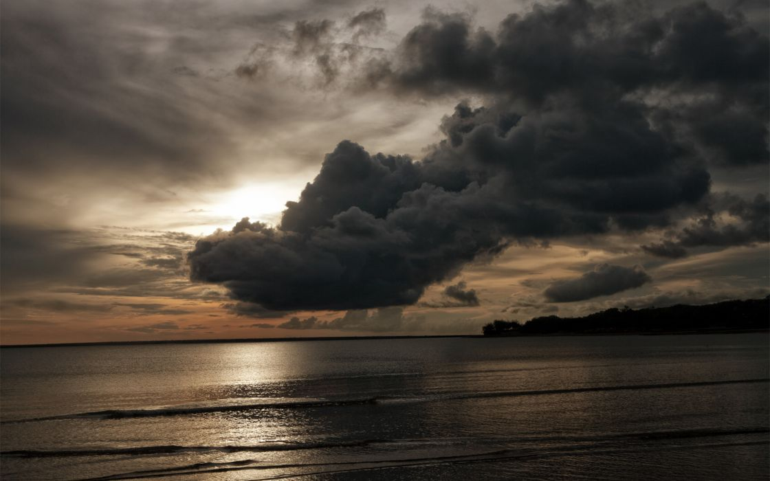 ocean sea sunset sunrise storm clouds reflection bay landscapes wallpaper