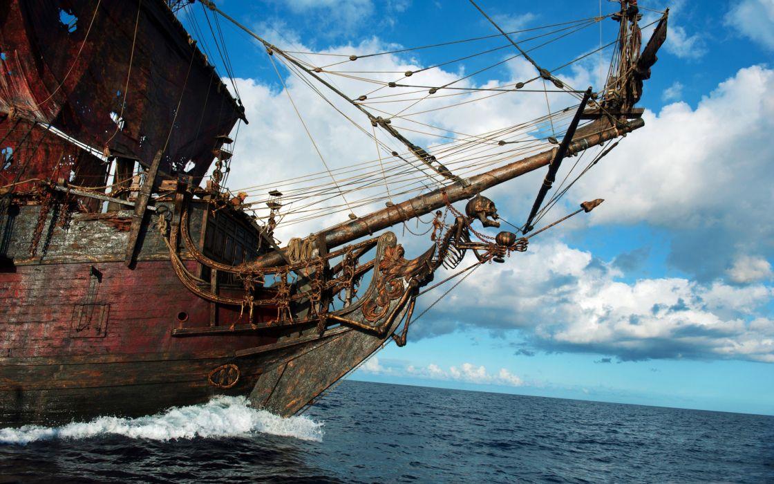 pirates of the caribbean fantasy ships dark horror skulls skeleton ocean sea sky clouds wallpaper