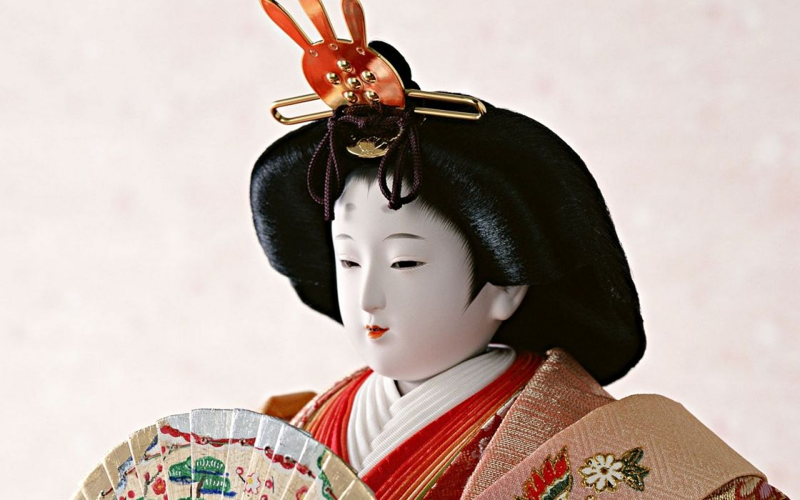 japanese dolls craft traditional art statue asian oriental culture geisha face wallpaper