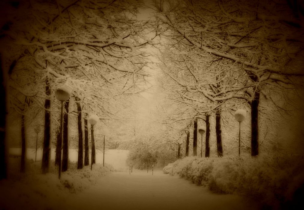 landscapes sepia winter snow lamp light wallpaper