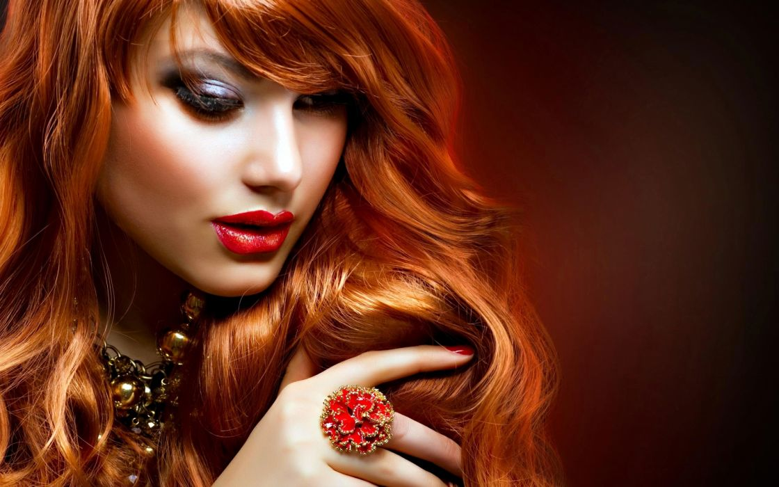 glam jewelry face eyes lipstick makeup rings hand women model fashion style redheads sexy babes wallpaper