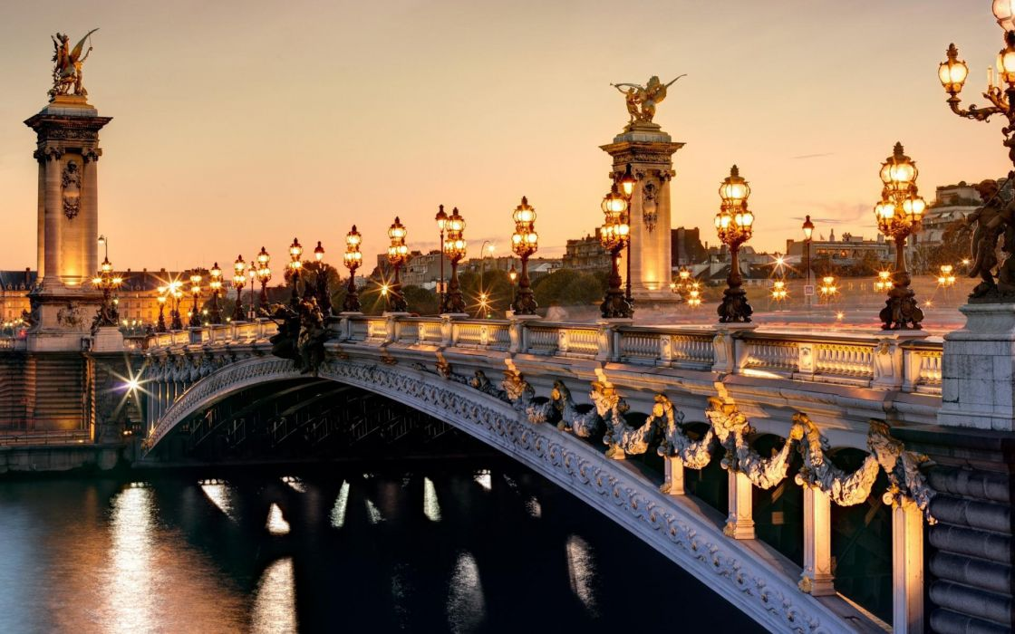france paris pont alexandre iii roads sunset sunrise sky lights lamp rivers reflection statue wallpaper