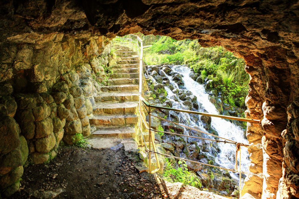 landscapes stairs rivers caves tunnel wallpaper