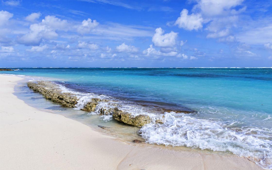 landscapes ocean sea waves breakers sky clouds tropical wallpaper