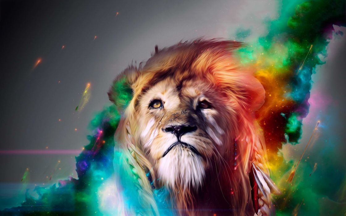 Lion cg digital art fantasy psychedelic face eyes color manip wallpaper