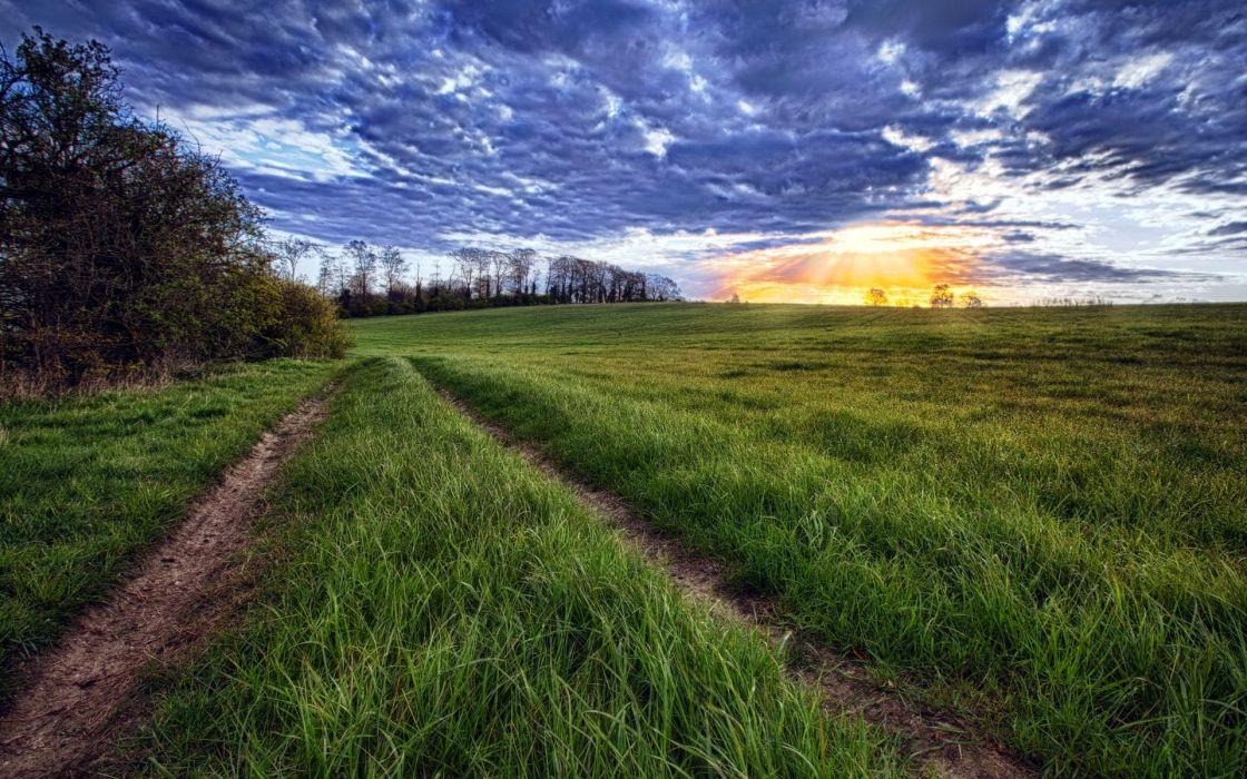 roads fields grass sky clouds sunset sunrise hdr wallpaper