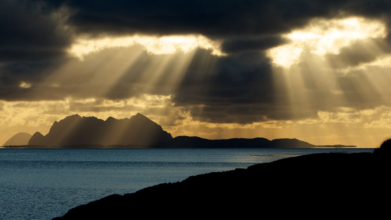 landscapes bay sea ocean fjord clouds sunset sunrise sunlight beams rays mountains wallpaper