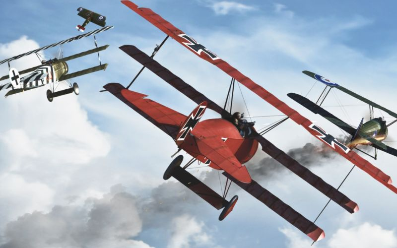 Red Baron airplane art military battles war weapons flight fly clouds sky wallpaper