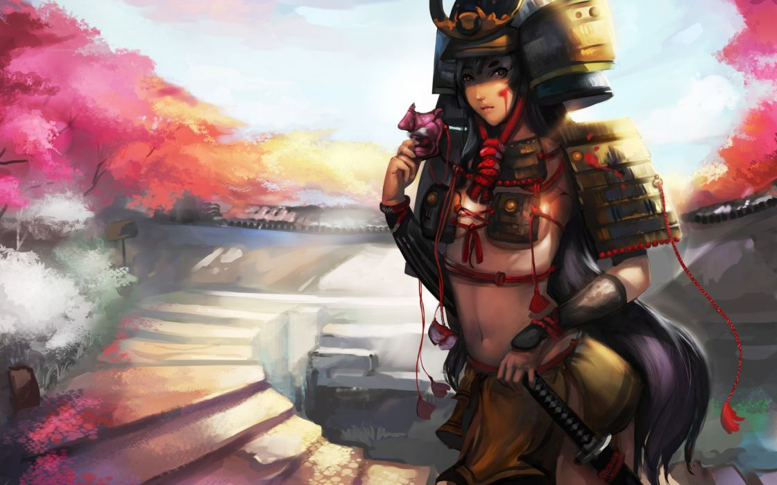 samurai fantasy art asian oriental warriors weapons sword katana armor women girl sexy babes wallpaper