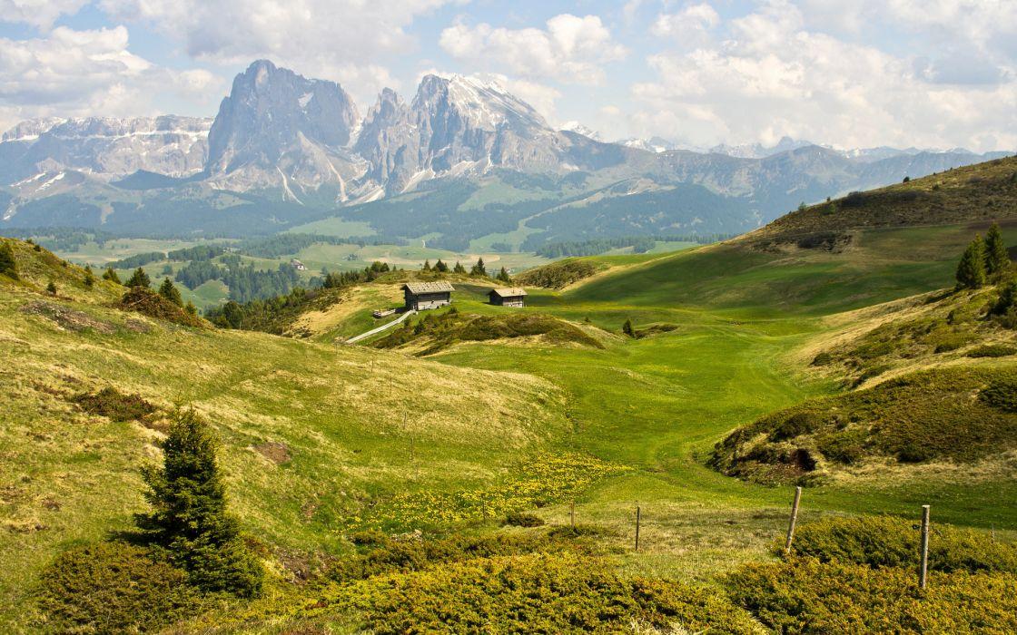 Dolomites landscapes sky clouds wallpaper