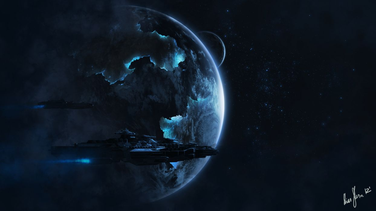 sci fi science outer space planets stars cg digital art spaceship spacecrafts wallpaper