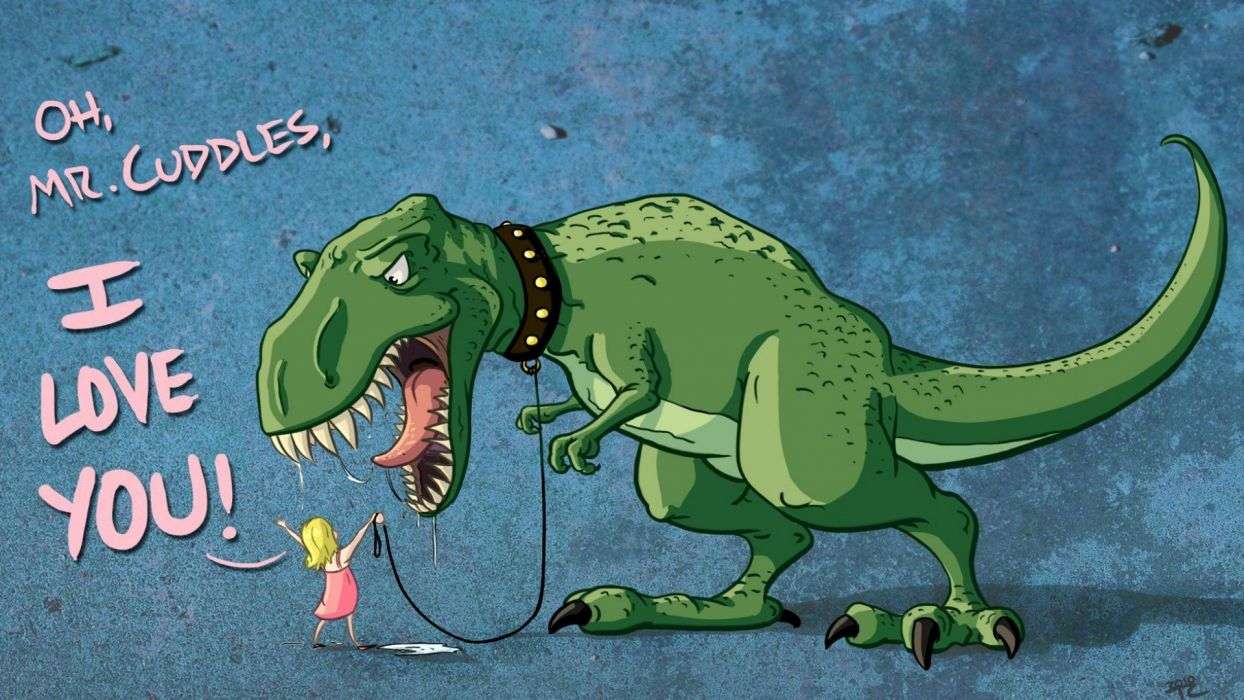 dinosaurs funny tyrannosaurus rex adorable cuddles wallpaper
