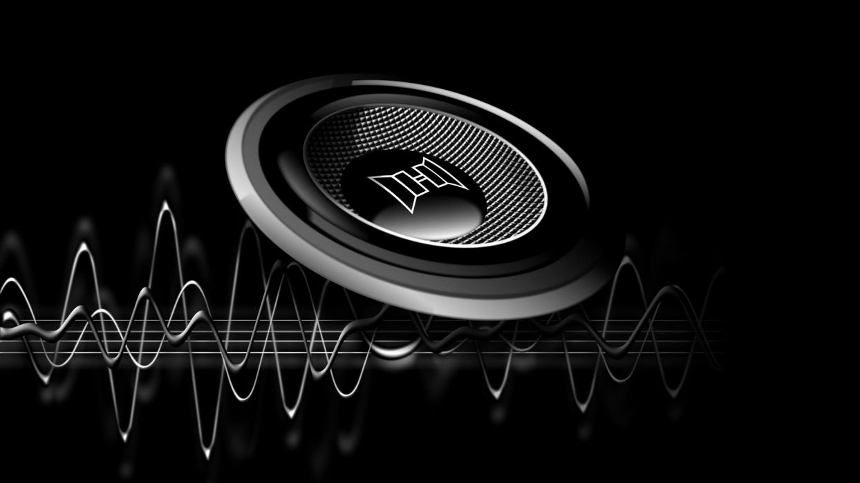 3d and cg Abstract Black speaker music wallpaper