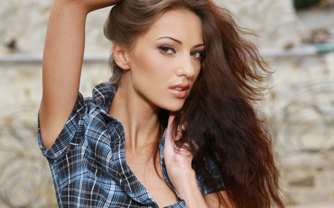 anna sbitna adult women models brunettes sexy babes face eyes pov wallpaper