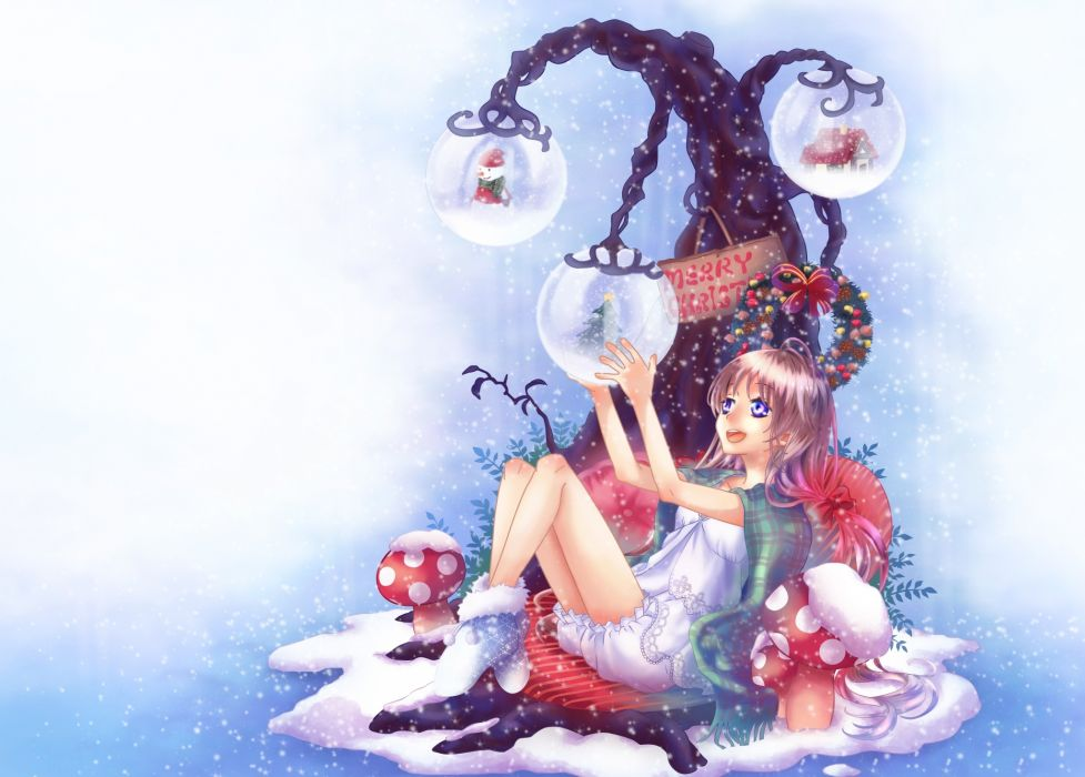 holidays christmas anime girl winter snow vector art wallpaper