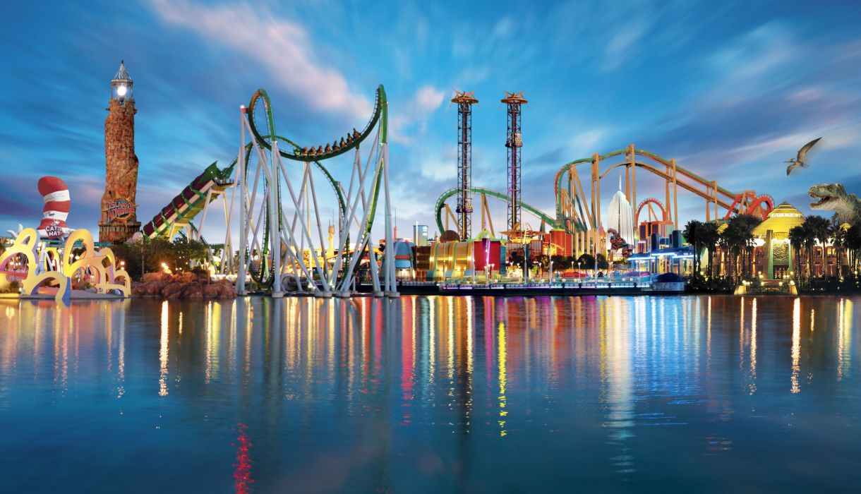 Orlando Florida usa america amusement park rides rollercoaster water reflection lights wallpaper