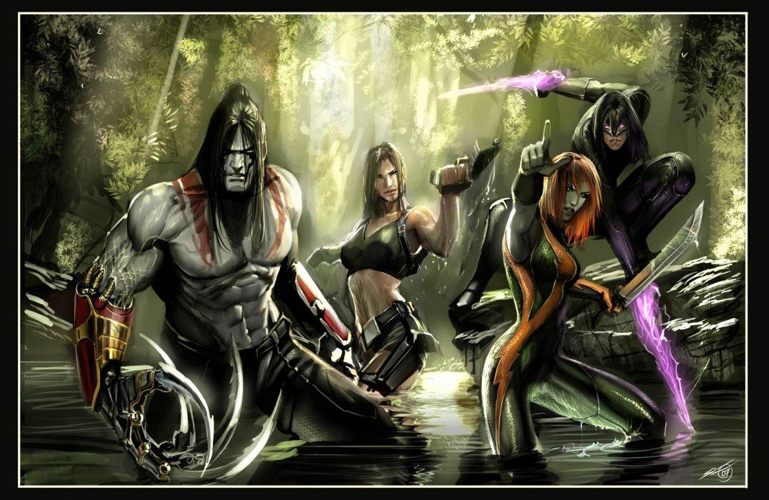 Witchblade comics warriors weapons swords magic fantasy wallpaper