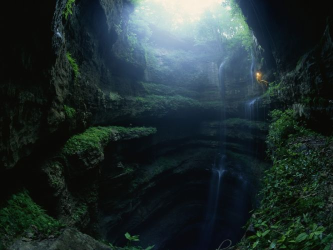 climbing caves landscapes waterfalls people jungle wallpaper