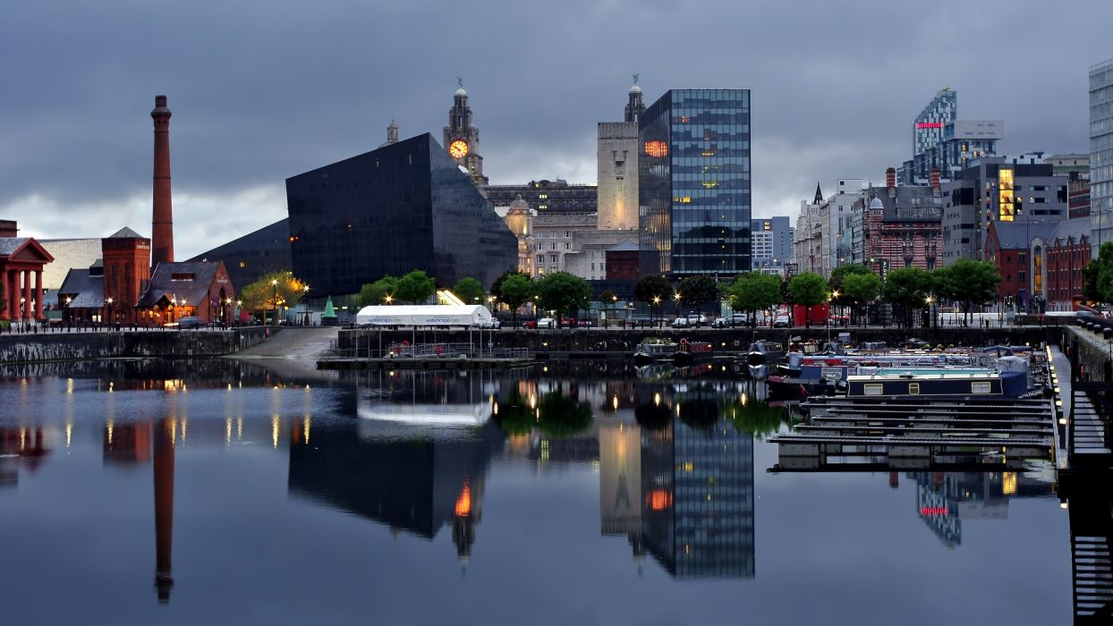 United Kingdom North West England Liverpool Great Britain bay harbor reflection architecture buildings wallpaper