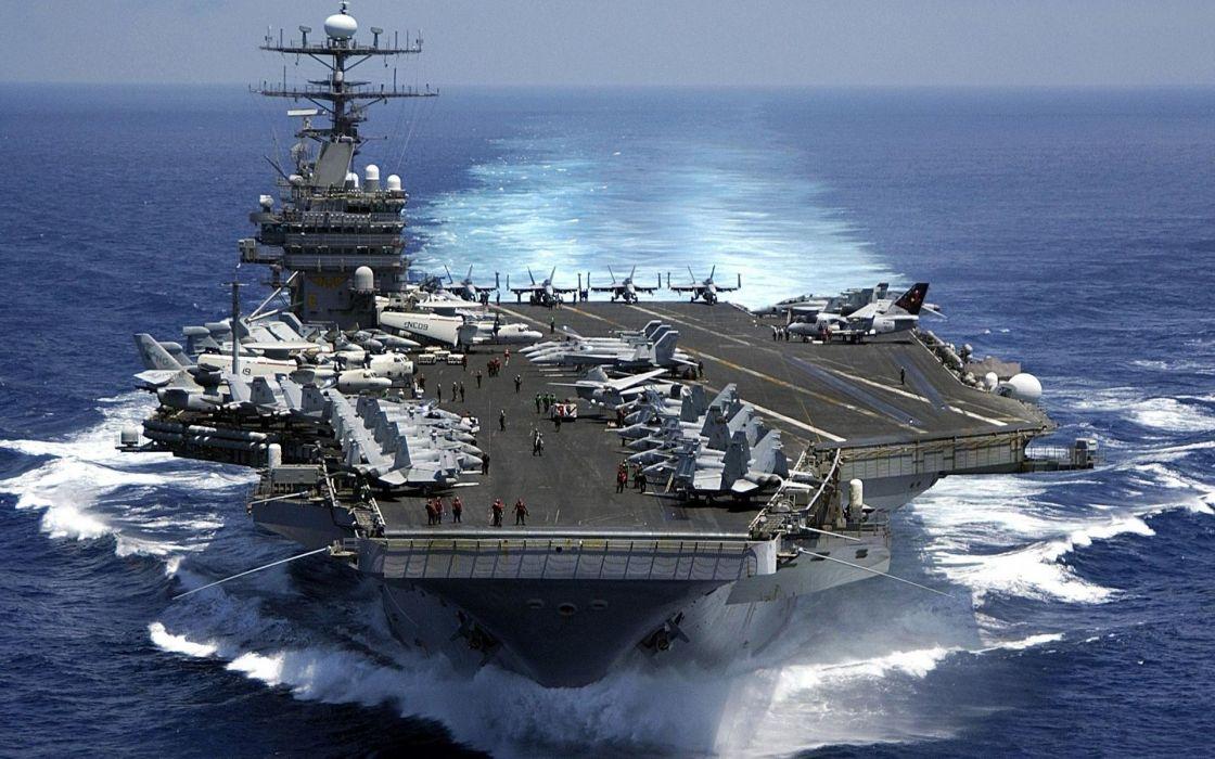 military navy aircraft carrier fighter jets aircraft ocean sea wallpaper