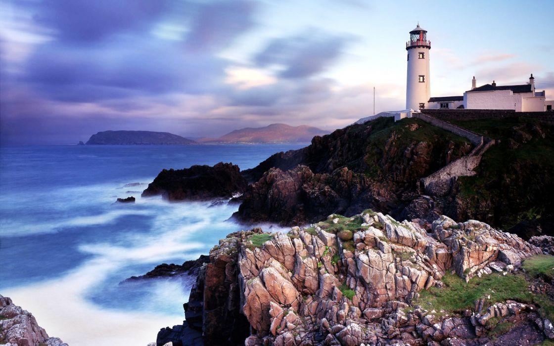 lighthouse light lamp landscapes buildings cliff shore coast ocean sea sky clouds wallpaper