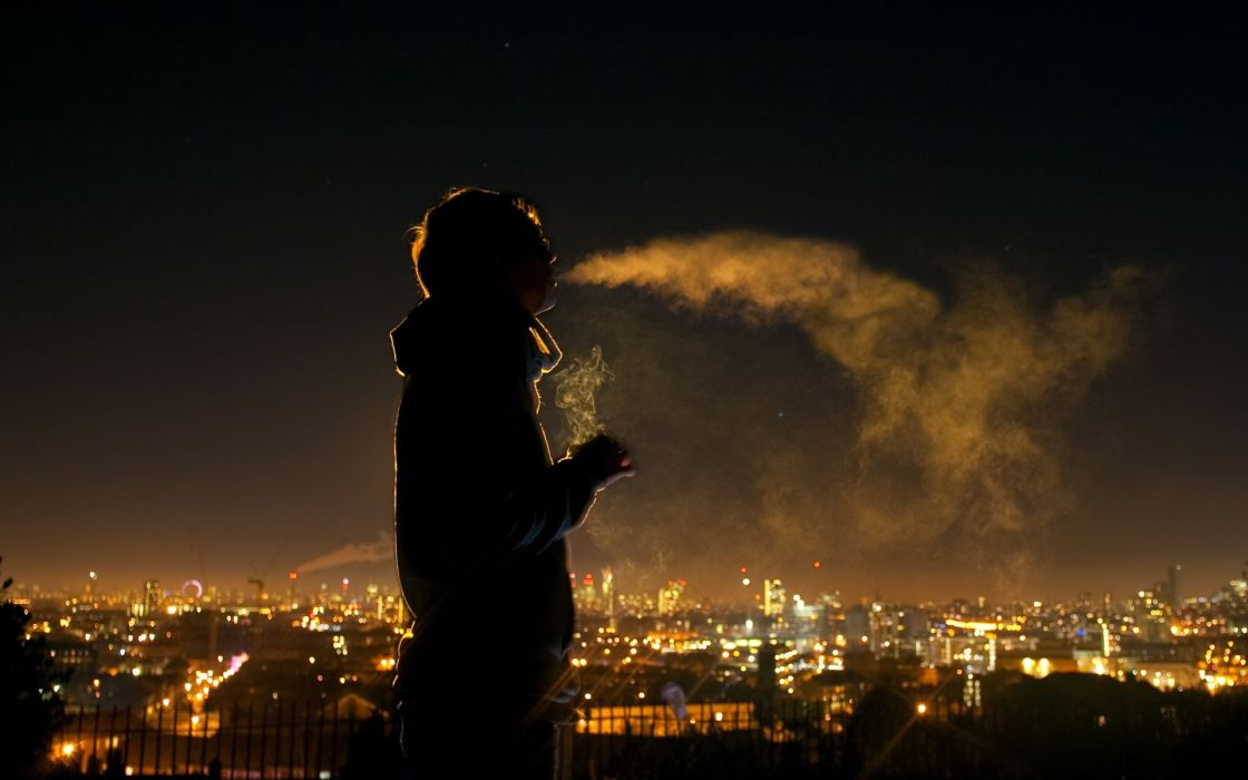 mood alone tranquil solitude people men males boy cities scenic lights night cigarette smoke wallpaper