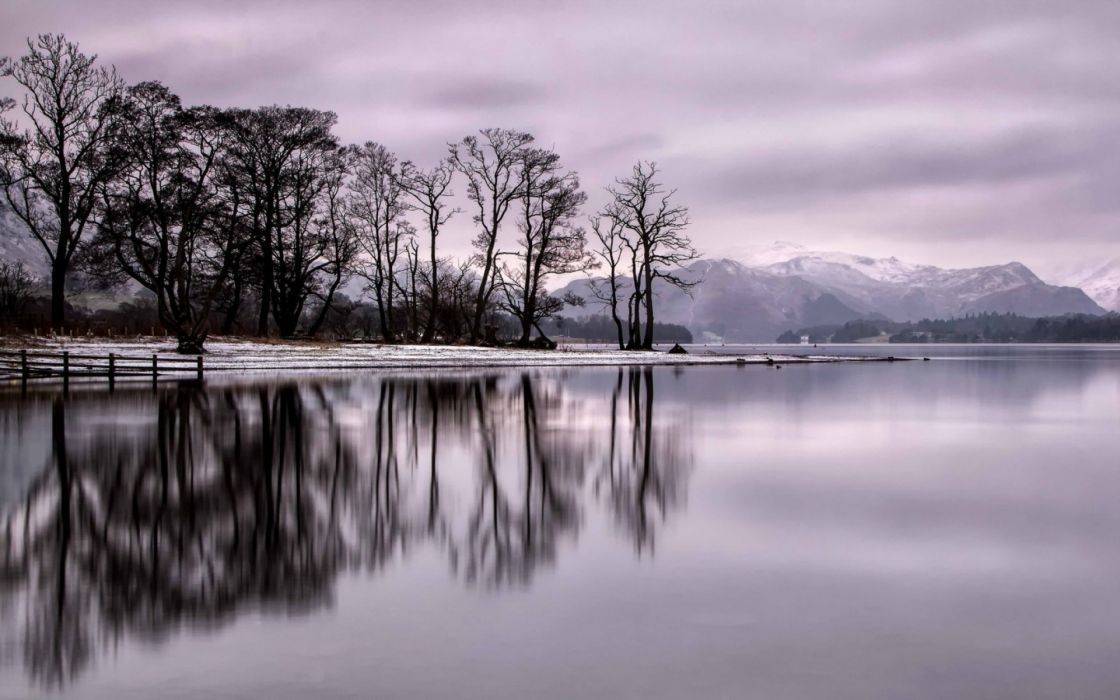 reflection landscapes trees mountains winter snow wallpaper