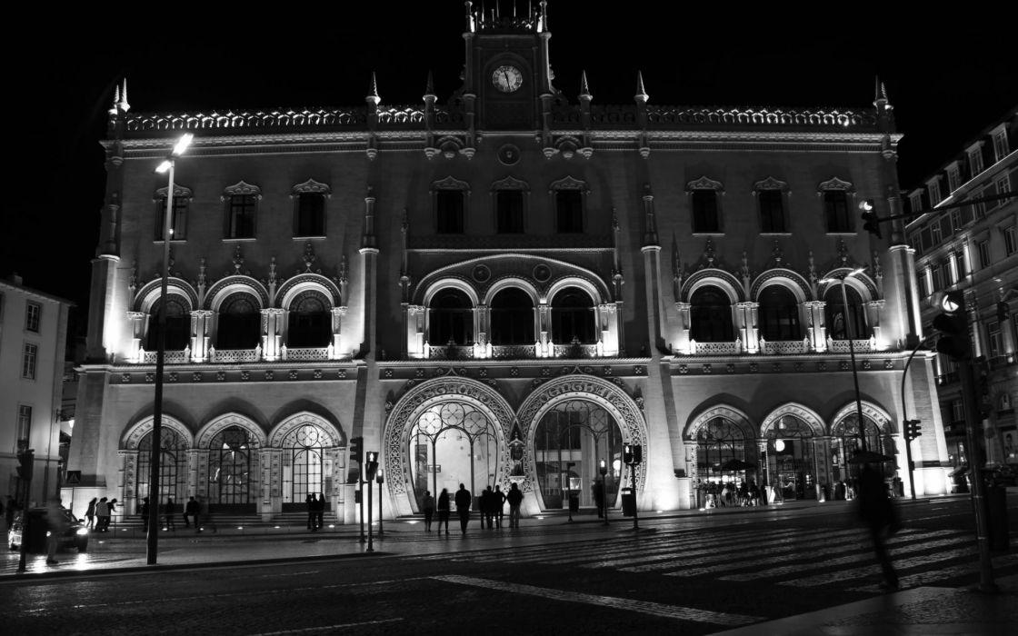 portugal train stations plaza cities lisboa buildings monochrome black white wallpaper