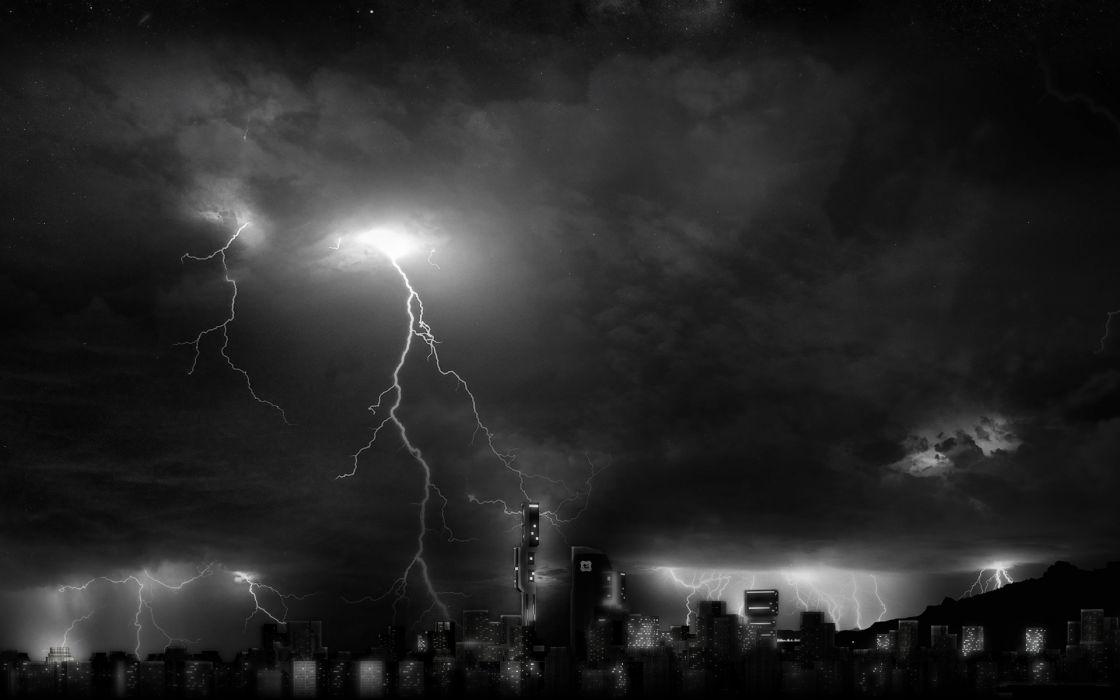 art architecture buildings skyscrapers storm rains lightning sky clouds wallpaper