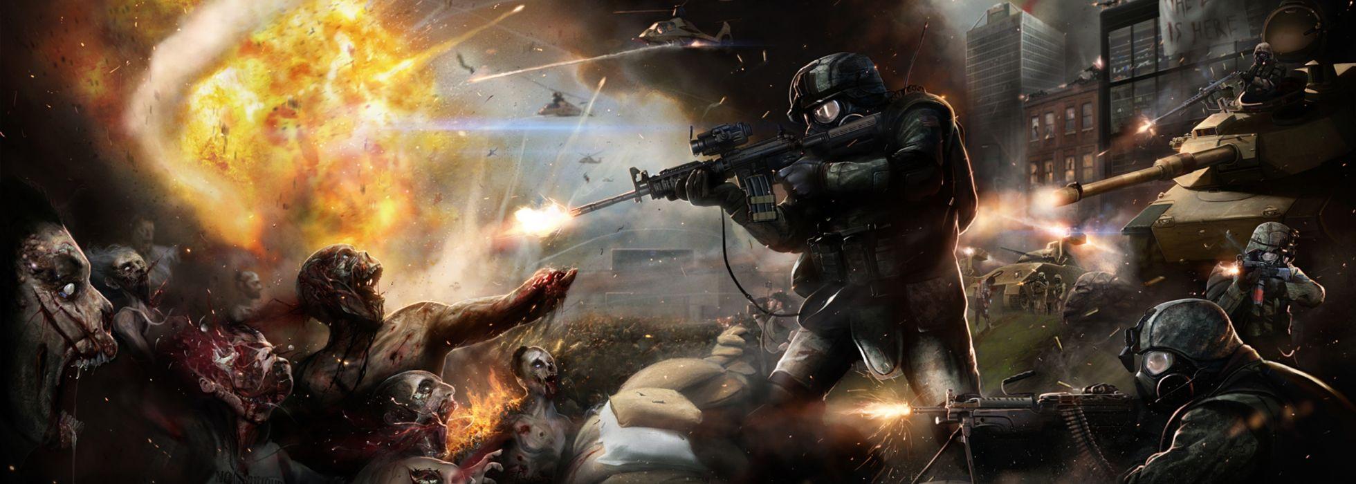 Multi Monitor Dual Screen World War Z sci fi dark horror zombies weapns assault rifle guns apocalypse fire wallpaper
