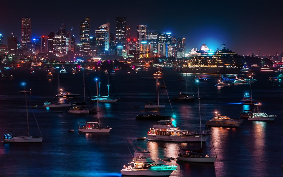 skyline cityscape night lights hdr harbor bay water reflection architecture buildings skyscrapers boats ships wallpaper
